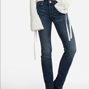 Express Skinny Mid Rise Medium Wash Jeans